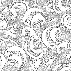 Vector doodle wavy seamless pattern. Hand drawn black and white vector background.