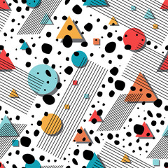 Abstract geometric seamless pattern. Retro memphis style vector background.