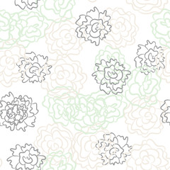 Romantic rose and peonies seamless pattern. Densely printed flowers love theme background. Pink rose, white and mint pastel colors.