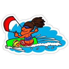 Kite sticker. Vector illustration