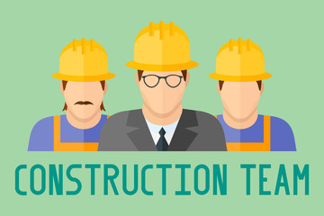 Banner of construction team. Group of construction workers. Flat style vector illustration.