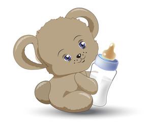 little teddy bear with milk small bottle