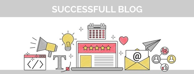 Flat vector thin line scribble header banner illustration of how to establish a successful 5 star blog. It includes: newsletter, social, seo, content writing, design, coding, idea, etc.