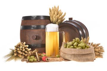 Bierglas mit Fässern