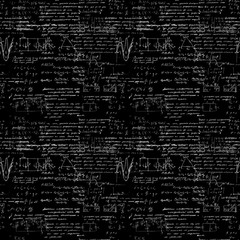 Seamless pattern of geometry, math, physics, electronic engineering subjects. Mathematics equation and calculations, endless hand writing. Black Background.