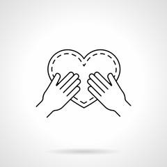 Heart in hands black flat line vector icon