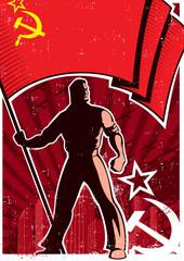 Flag Bearer Poster USSR / Retro poster with flag bearer holding banner of USSR.