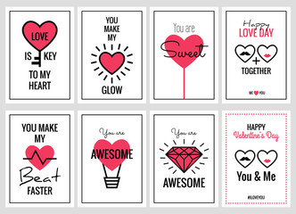 Happy Valentines Day or Wedding Cards Set