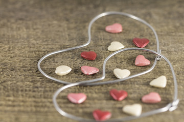 Valentine's day - abstract view of the two hearts of metal wire