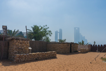 Traditional bedouin stone house at heritage village, Abu Dhabi,