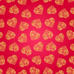 Abstract background with hearts. Vector seamless pattern