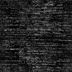 Seamless pattern with handwriting text. Calligraphic English text, on chalk board. Natural hand writing style. Lectures archives on different subjects, graphic design, typography, web programming.