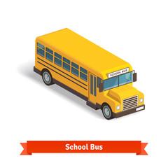 Yellow school bus in isometric 3d