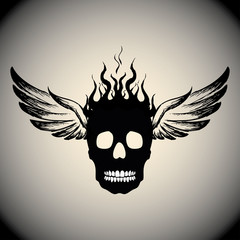 Skull on Fire with Flames  and wings