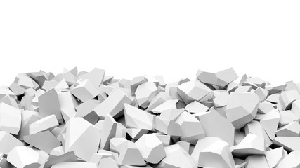Pile of shattered white pieces of stone, isolated on white with copy-space