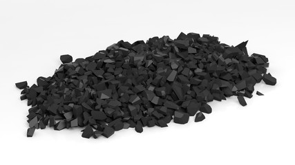 Pile of shattered black pieces of stone, isolated on white background.