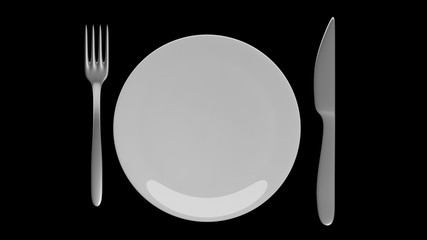Silver fork and knife with a plate, isolated on black background.