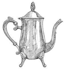 silver teapot - black and white illustration