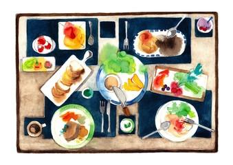 賑やかな食卓、濃紺