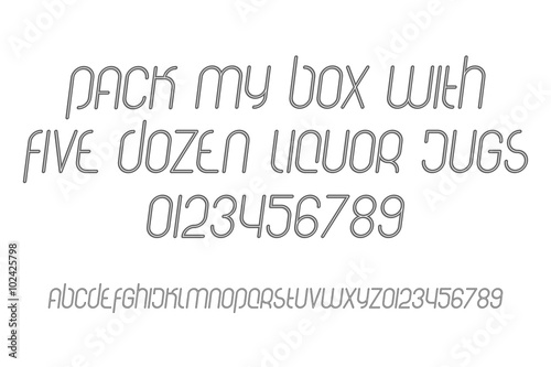 set of outline style, isolated alphabet letters and numbers