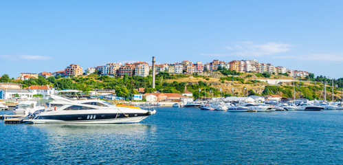 View of the harbor of the old town of Sozopol with yachts in the foreground, Black sea coast, Bulgaria. Wall mural