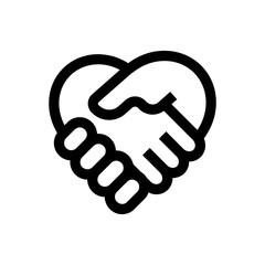Hand shake line icon.
