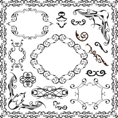 Ornate baroque graphic art set