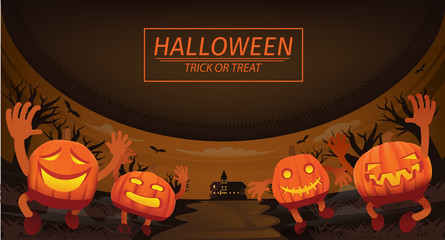 four carved pumpkin chased people on Halloween day. background vector, Illustration , Graphic Design