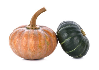 Gold and green pumpkin isolated on white background