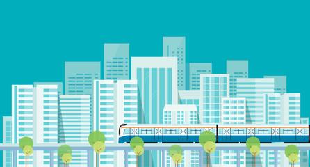 Capital.downtown.electric train. transportation.  building.city