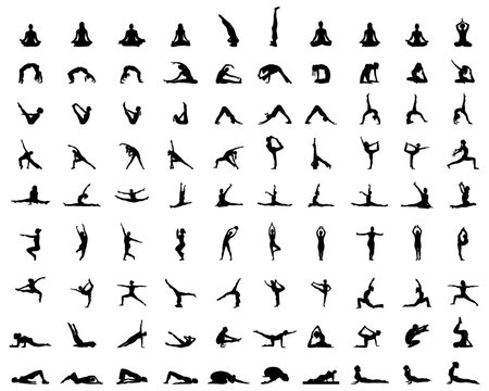 Black silhouettes of yoga and fitness, vector