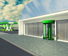 Gas station, shop and electric solar panels