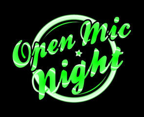 Open Mic Night Florescent Light