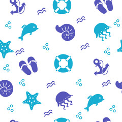Seamless marine pattern with beach items, vector background