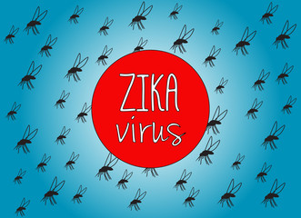 Illustration with text Zika virus and mosquito background