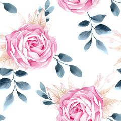 Watercolor seamless roses pattern.