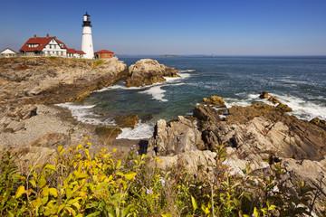 Portland Head Lighthouse, Maine, USA on a sunny day