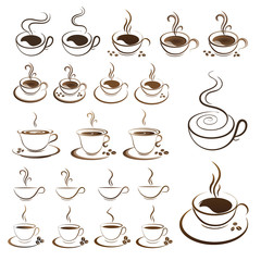 clipart set hot coffee cup vector