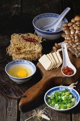 Ingredients for asian soup ramen