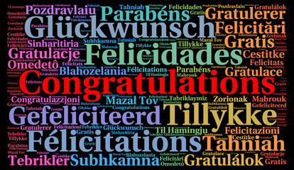 Congratulations in different languages word cloud