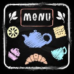 Chalk board. Menu for cafe. Set Time tea