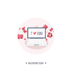 Vector illustration. Flat background with laptop. Love, hearts. Valentines day. Be my valentine. 14 february.