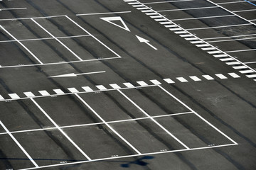 big space empty parking lot from above