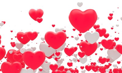 Many red fnd white hearts. 3d background