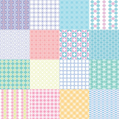 Set of cute childish seamless vector patterns. Vintage Tile.