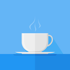 White cup of coffee or tea with smoke on blue background. Flat style vector illustration.