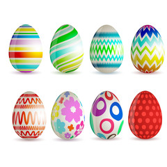Set of 8 different Easter eggs