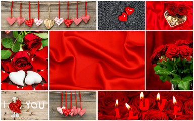 Red hearts, rose flowers, decorations. Valentines Day