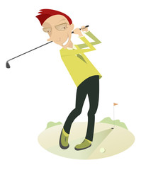 Smiling golfer on the golf course