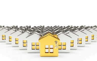 Rows of silver houses with one golden house isolated on white background